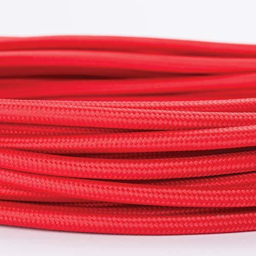 5M Meter Textilkabel Textilummanteltes Kunststoffleitung Stoffkabel Stromkabel / 3-adrig 3x0,75mm² mit Erdleiter, Lampezubehör (5m, rot)