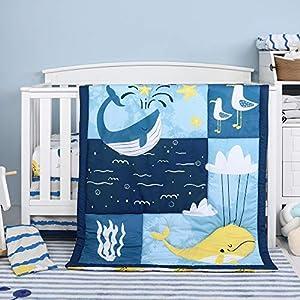 crib bedding and baby bedding tillyou luxury 4 pieces whale crib bedding set (embroidered crib comforter, crib sheets, crib skirt) - microfiber printed nursery bedding set for girls boys - sea world