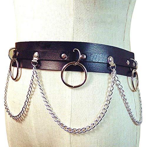 ZREAL - Cinturón de Piel sintética para Mujer, con Cadena de Metal, Cinturones de Punk, para Danza callejera, Fiesta, Cintura marrón café