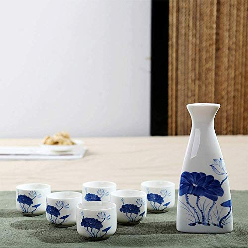ZHEYANG Sake Set Juego de Sake de 7 Piezas, Estilo japonés, cerámica, Manualidades Retro, Caja de Regalo de Loto Azul Sake Set Model:G07020