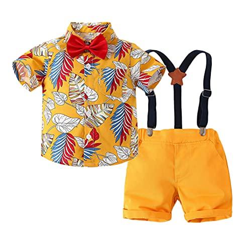 Conjunto 3 Piezas Trajes Verano bebé Camisa Hawaiana Manga Corta con Estampado Floral con Pajarita+Pantalones Cortos Playa Fiesta Vacaciones Caballero 9 Meses-6 años (Amarillo B, 1-2 Años)
