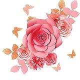 Fonder Mols 3D-Papierblumen-Dekorationen für Wand (Rouge Rosa, 16 Stück), Papier-Blumen-Hintergrund, Kinderzimmer-Deko, Riesen-Papierblumen, Hochzeits-Dekoration