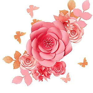 Fonder Mols 3D Paper Flowers Decorations for Wall (Blush Pink, Set of 16), Paper Flower Backdrop, Nursery Decor, Giant Paper Flowers, Wedding Centerpiece