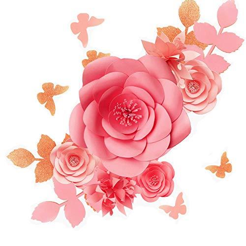 Fonder Mols 3D-Papierblumen-Dekorationen für die Wand (Blush Pink, 16 Stück), Papierblumen-Hintergrund, Kinderzimmerdekoration, Riesen-Papierblumen, Hochzeits-Mittelstück