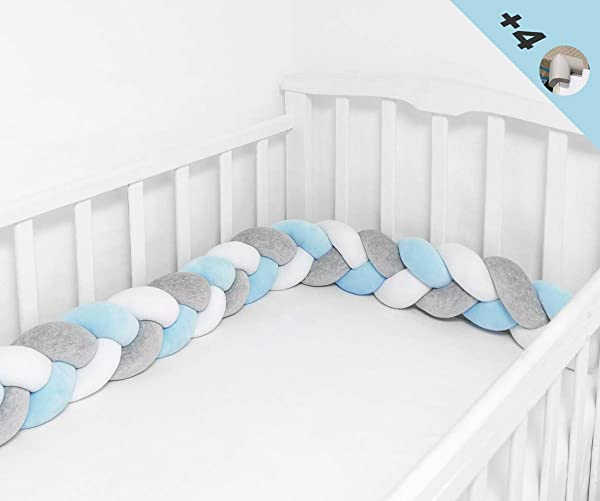 Braided Crib Bumper Soft Pad Flannel Crib Bumper Sleep Bumper Safe For Toddler Newborn Included Edge Corner Guards White Grey Blue 157in 4Meters