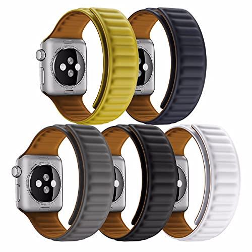 JJGS 5 Correas Compatibles con La Correa De Reloj De Apple 42mm 44mm, Mujeres Hombres De Silicona Magnético De La Pulsera De Reemplazo para La Serie IWATCH SE 6 5 4 3 2 1 2#-38/40mm
