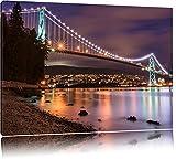 Lions Gate Bridge in Vancouver bei Nacht Format: 100x70 auf