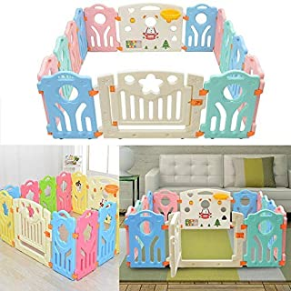 Bshop 5 25 5 25 1 97 Baby Playpen Castle Infant Colourful Panels with Doors Panel  amp  Interactive Play Panel