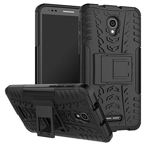 TiHen Funda Alcatel Pop 4 Plus 360 Grados Protective con Pantalla de Vidrio Templado. Caso Carcasa Case Cover Skin móviles telefonía Carcasas Fundas para Alcatel Pop 4 Plus - Negro