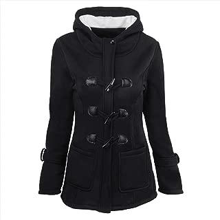 YEMOCILE Women's Winter Midi Long Thick Thermal Horn Buckle Wool Pea Coat Hooded Jacket Outwear Tops Coat