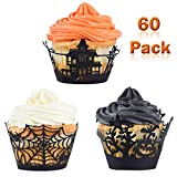 Whaline 60 Pack Halloween Cupcake Wrappers Spiderweb/Witch/Castle Laser Cut Paper Liners Holders for Halloween Party Wedding Birthday Decoration (Black)