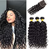 Wet and Wavy Human Hair Weavy Bundles with Closure 3 Bundles Brazilian Water Wave Weave Weft with...