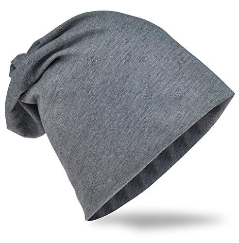 Jersey Slouch Beanie Long Mütze Unisex Unifarbe Herren Damen Trend, Dunkelgrau, Einheitsgröße