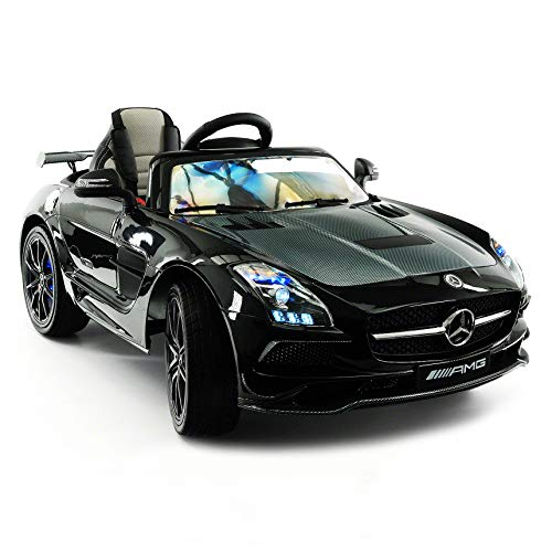 Mercedes SLS Final Edition Children Ride-On Car with R/C Parental Remote 12V Battery Power LED Wheels Lights + 5 Point Seat Belt + MP4 LCD TV Music Video Player + Rubber Floor Mat (Black)