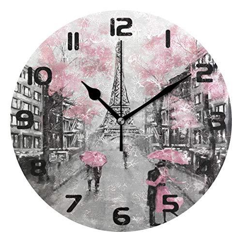 Hunihuni Wanduhr Eiffelturm Paris Frankreich leise, Nicht tickende Uhr für Schlafzimmer Wohnzimmer Home Office Decor
