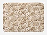 Ambesonne Beige Bath Mat, Exotic Marine Animals in Retro Style Illustration Shells Starfish Seahorse Contemporary, Plush Bathroom Decor Mat with Non Slip Backing, 29.5' X 17.5', Beige