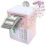 Fingerprint Piggy Bank For Girls Kids Real Money Safe, Electronic Plastic Atm Saving Bank, Smart Sensing Automatic Roll-In Cash (Pink-Cat)