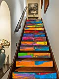 FLFK 3D Colorful Art Oil Painting Self-Adhesive Stairs Risers Stickers Vinyl Staircase Stickers Wall Murals Wallpaper Decor 39.3Inch x7.08Inch x 13PCS