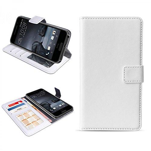 eFabrik Cover für HTC One A9 Hülle Handy Zubehör mit Aufsteller Innenfächer, Farbe:Weiß