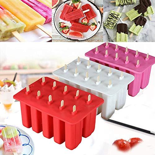 CXJUN Stampi per ghiaccioli a Rilascio rapido con Bastoncini e antigoccia Stampi per ghiaccioli Gelatiera in Silicone con Bastoncini di Legno