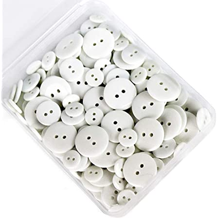 SUNTATOP 200 Piezas Botones de Resina de Botones Redondos de Agujero Manualidades DIY de Coser (Blanco)