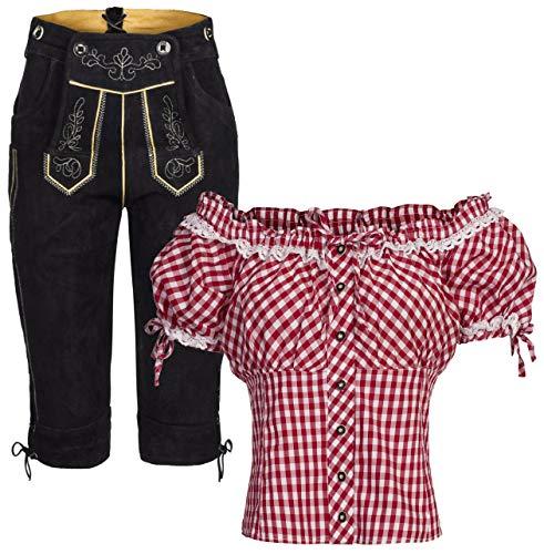 Damen Set Trachten Lederhose Kniebund schwarz + Träger + Trachtenbluse Carmen 48 Rot Weiß Kariert 46