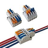 Aiqeer 9 Piezas KV424 Palanca Tuerca Cable Conectores Set, 2 in 4 out Conector Conductor Compacto, Bilateral Rápido Resorte Conector Bloque Terminal