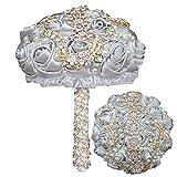 CZYLHF Ramos de rosas para novia con hermosa cinta de flores artificiales de rosa con diamantes de imitación para la boda de fotos de San Valentín cumpleaños (gris plata)