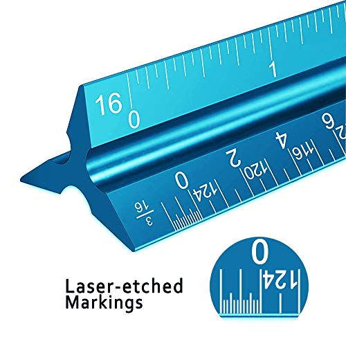 """Architectural Scale Ruler, 12"""" Aluminum Architect Scale, Triangular Scale, Scale Ruler for Blueprint, Triangle Ruler, Drafting Ruler, Architect Ruler, Metal Scale Ruler, Architecture Ruler Photo #5"""