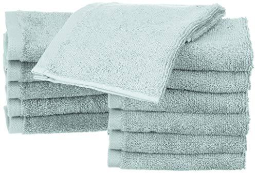 Amazon Basics - Waschlappen aus Baumwolle, 12er-Pack, Eisblau