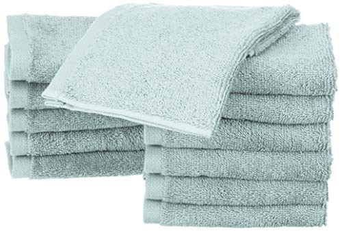 AmazonBasics - Toallas de algodón, 12 unidades,  Azul hielo