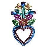 La Casa di Frida Corazón con espejo D, artesanía mexicana para colgar, 14,5 x 8 cm