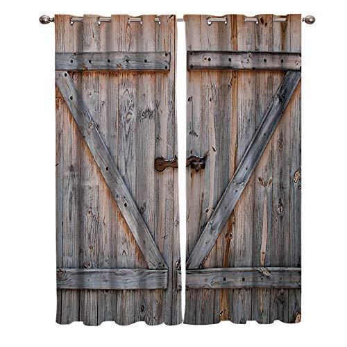 LWXBJX Cortinas Opacas Dormitorio Termicas - Puerta de madera marrón vintage - Impresión 3D Aislantes de Frío y Calor 90% Opacas Cortinas - 300 x 270 cm - Salon Cocina Habitacion Niño Moderna Decorati