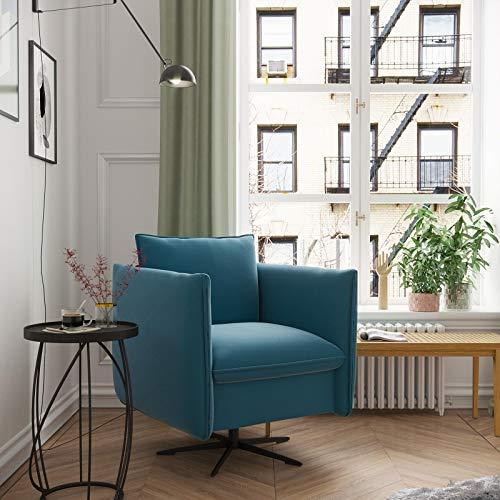 place to be. Exclusivo sillón giratorio con agradable función balancín en estilo moderno, color azul petróleo