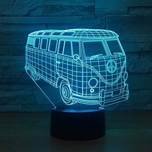 YOUPING Kid Touch Button Baby Sleep 3D Visual Bus Modelado Led Luz de Noche Iluminación USB Decoración del Hogar Sala de Estar Ambiente Coche Lámpara de Escritorio