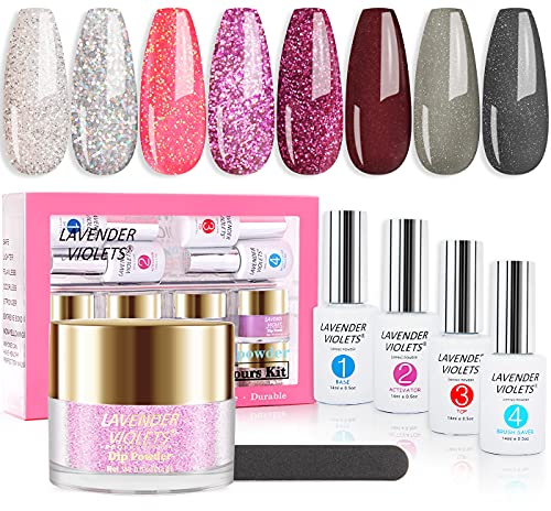 Lavender Violets Fast-Dry-Dip-Powder-Nail-Set with 0.5 oz/bot. Large Capacity 8 Glitter Colors and 4 Liquid, No UV/LED Nail Lamp Needed Express-Dry Dipping Powder System for Manicure Nail Art J747