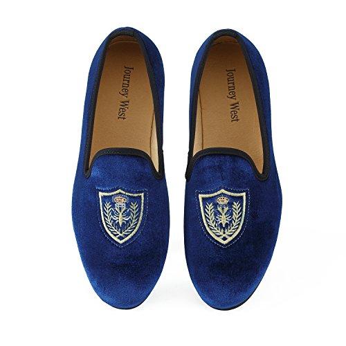Journey West Herren Vintage Schuhe Samt Slipper Herren Stickerei Noble Herren Schuhe-Slipper Smoking Slipper Mokassins Herren Schuhe Loafers Herren Blau Gr?e: 40