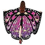 Guobin Chal de Alas de Mariposa Duendecillo para Adulto Mujer Capa de Muchacha Accesorio para Disfraz Playa Fiesta (Rosa Oscuro)