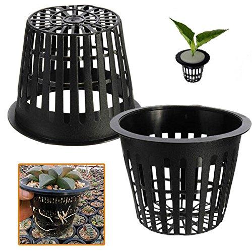 Bluelover 10Pcs Plantation Hydroponique en Plastique Noir Maille Filet Pot Paniers Jardin Plante Pousser Cup
