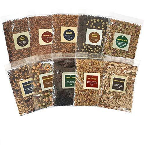 Bio- Sprossen- Samen- Mix Seedelicious Supreme | 20 Gemüse-Samen mit Alfalfa, Rettich, Erbsen, Brokkoli | Schnell wachsendes Superfood für besonders gesunde Ernährung | 10 vorgemischte Päckchen | 500g