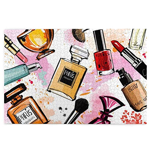 1000 Pieces Watercolor Cosmetics and Perfumes Puzzle,Fun Educational Toy For Kids Ages 12,Teens,Adults & Families.Educational Games Home Decoration Puzzle,Size 29.5 X 19.7