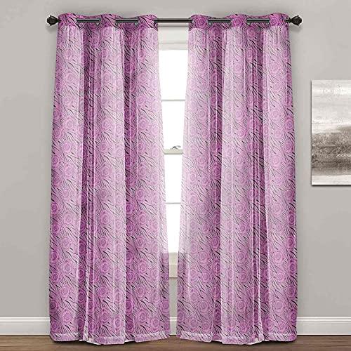 Cortinas insonorizadas, impresión animal, flores en tigre salvaje, cortinas a prueba de sonido para ventana (2 paneles de ancho 122 x largo 96 pulgadas)