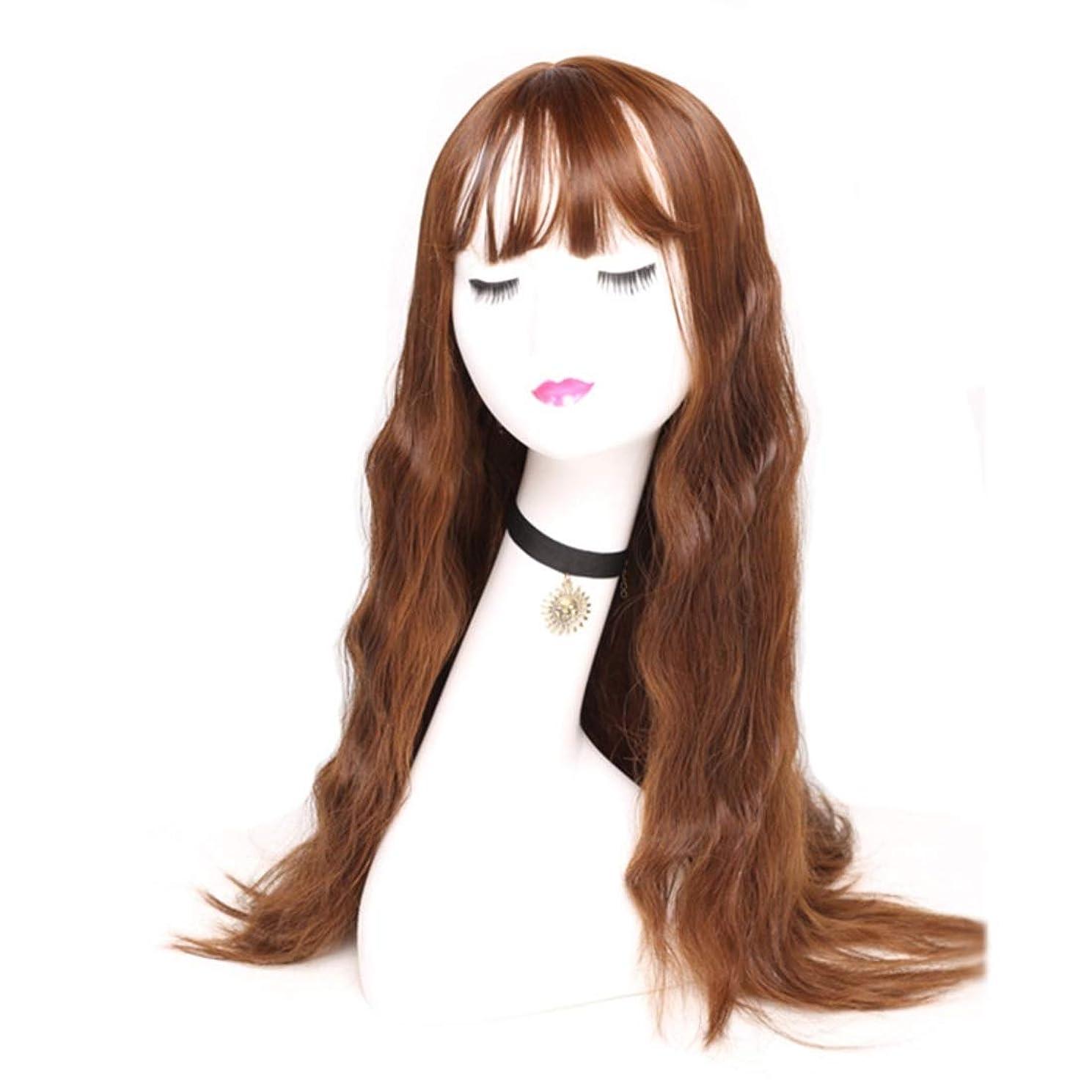 宿特定のフェードSummerys 女性のための長い波状の合成かつら茶色のかつらかつら