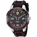 Ferrari Men's APEX Stainless Steel Quartz Watch with Silicone Strap, Black, 20 (Model: 0830630)