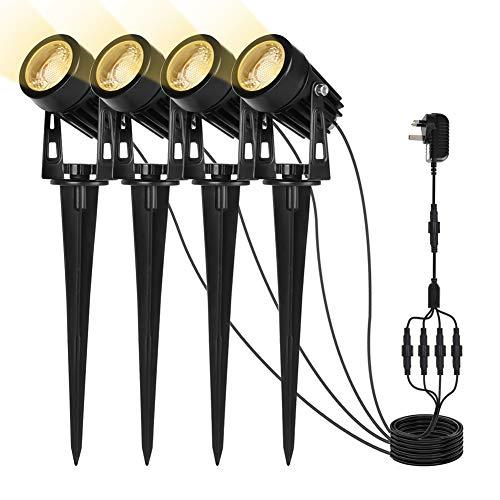 Sanfant Gartenbeleuchtung, Gartenleuchte 4 in 1, Gartenstrahler mit Erdspieß IP65 Wasserdicht, Gartenlampen mit Strom 3W COB LED für Außen Garten Rasen