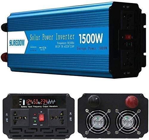 QJM AC convertidor de coche 800W 1000W 1500W 2000W de onda sinusoidal pura inversor solar 12V a 110V / 240 convertidor de CC a CA for Viajes por carretera, Oficina Móvil Y Camping Conversor de coche Q