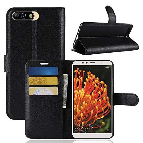ECENCE Handy-Schutzhülle - Handytasche für Huawei Y6 2018 / Honor 7A Schwarz - Smarthone Hülle Cover stoßfest mit Kartenfach - Handycase mit Stand-Funktion 41030302