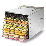 CO-Z Commercial Grade Stainless Steel Electric Food Dehydrator Machine, Meat or Beef Jerky Maker, Fruit Dryer with 10 Trays, 155 Degree Fahrenheit, Jerky Safe with 15 Hour Timer, 1000W