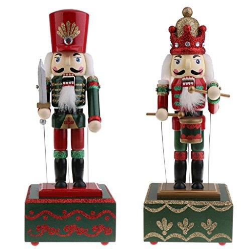 SM SunniMix 2pcs Boîte à Musique Forme Casse-Noisette en Bois Figurine Soldats Batteur Objets de Collection Cadeau Anniversaire Noël Fête pour Enfant Famille