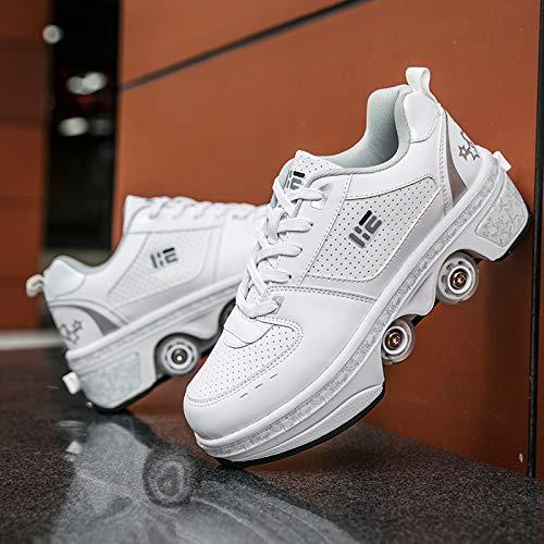 LED Inline Skates Kinder, Roller Skates Madchen Verstelbar, 2-in-1-Mehrzweckschuhe, Verstellbare Quad-Rollschuh-Stiefel,UK4.5